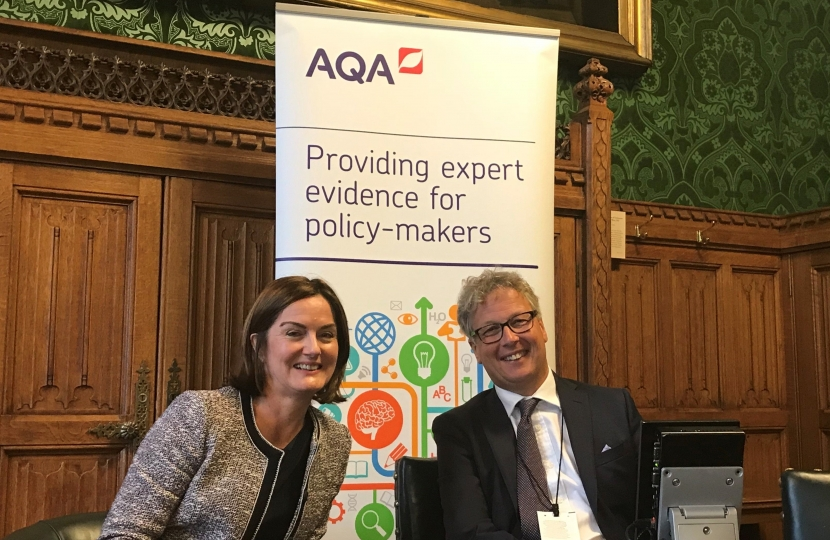 Lucy Allan with Professor Toby Salt, Chief Executive of AQA