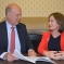 Lucy Allan discussing Telford's transport links with the Transport Secretary